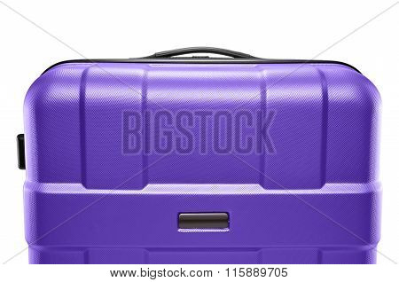 lilac suitcase plastic. upper part of the handle