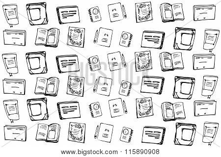 Vector Background Of Books And Notebooks Notebooks