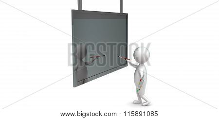 3D Man Painting On Screen Holding Paint Brush And Oil Color Pallete In Hands Concept