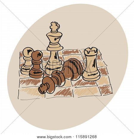 Chess on a chessboard pattern Doodle