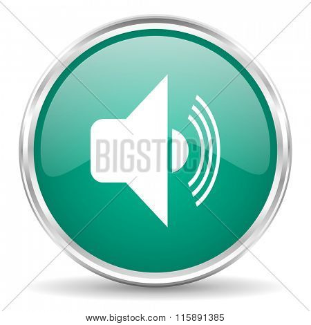 volume blue glossy circle web icon