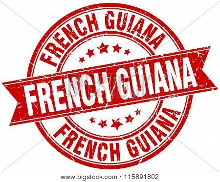 French Guiana red round grunge vintage ribbon stamp