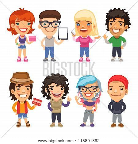 Trendy Dressed Cartoon Characters