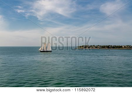 Three White Sails On Aqua Water