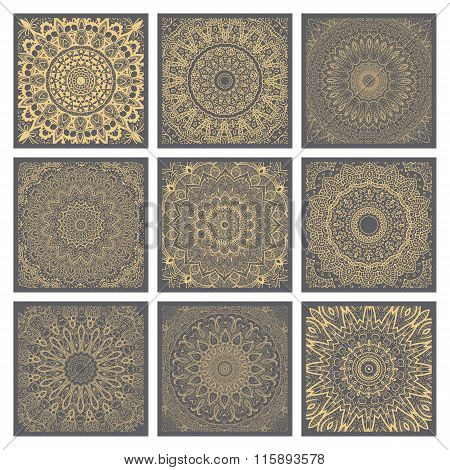 Vintage Doodle Mandala Ornament In Indian Style Background.