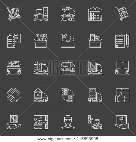 Moving line icons set