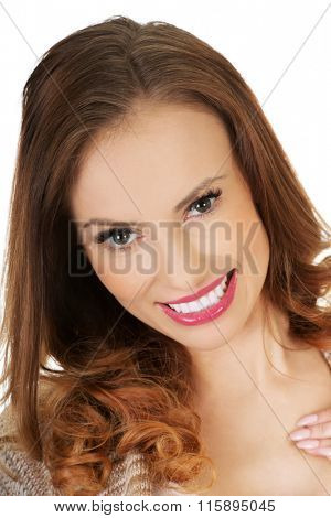 Beautiful casual smiling woman.