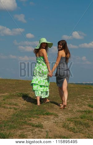 Two Barefooted Girls On The Hill