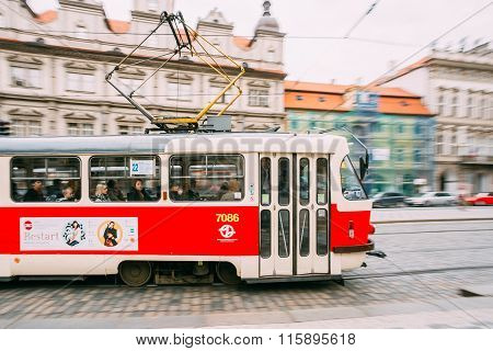 Movement of tram on the street Malostranske namesti in Prague, C