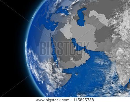 Middle East Region On Political Globe