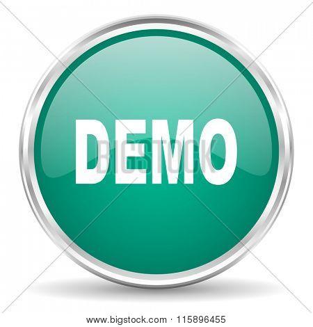 demo blue glossy circle web icon