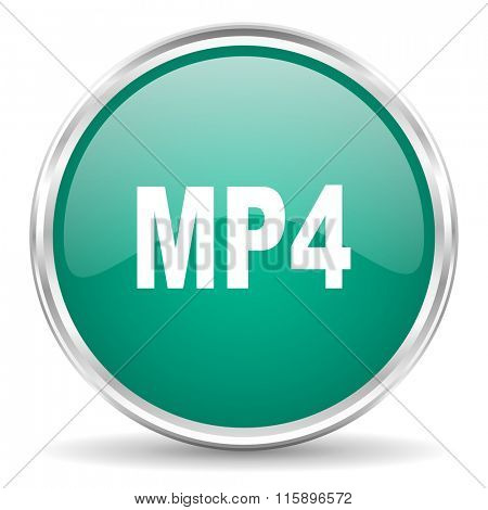 mp4 blue glossy circle web icon