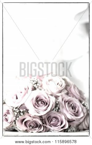 A Colored Macro Photo Of A Detailed Bouquet With Pink Roses, White Small Flowers And A Fake Diamond