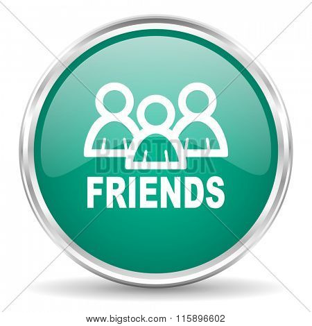 friends blue glossy circle web icon