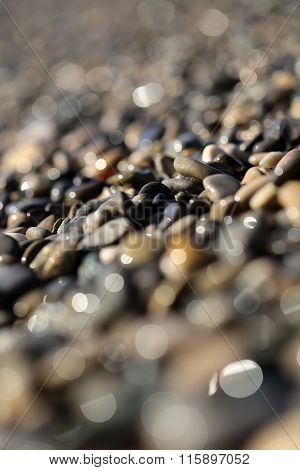 Large Quantities Of Wet Pebbles