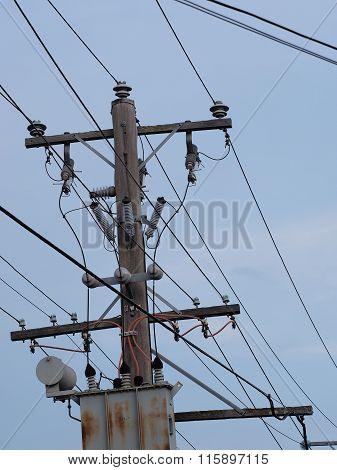 Timber power pole and transformer