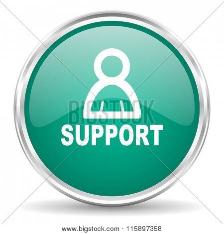 support blue glossy circle web icon