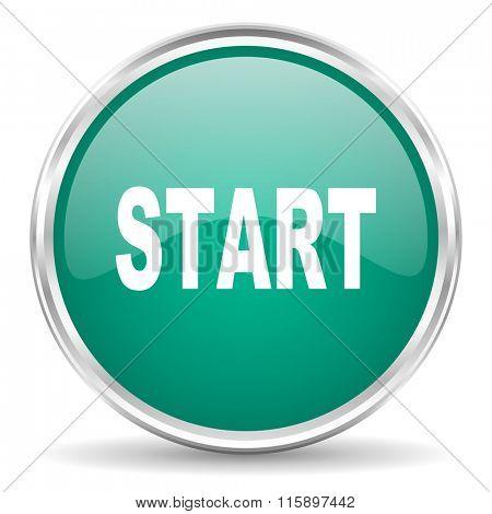 start blue glossy circle web icon