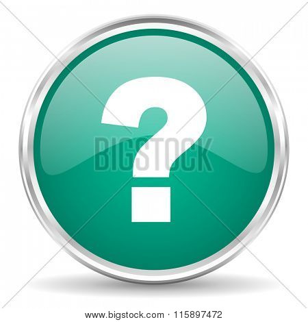 question mark blue glossy circle web icon