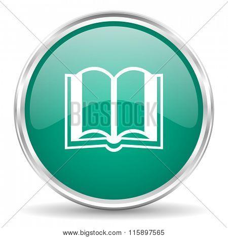 book blue glossy circle web icon