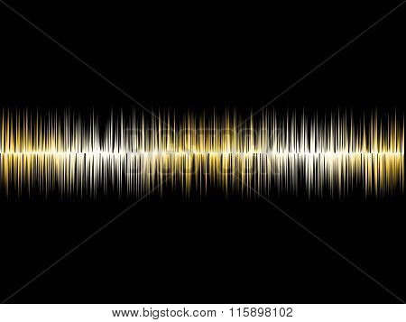 Gold Silver Soundwave With Black Background