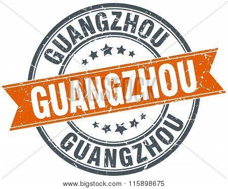 Guangzhou red round grunge vintage ribbon stamp