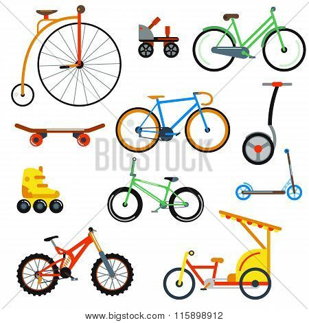 Bicycle flat style isolated on white background vector illustration