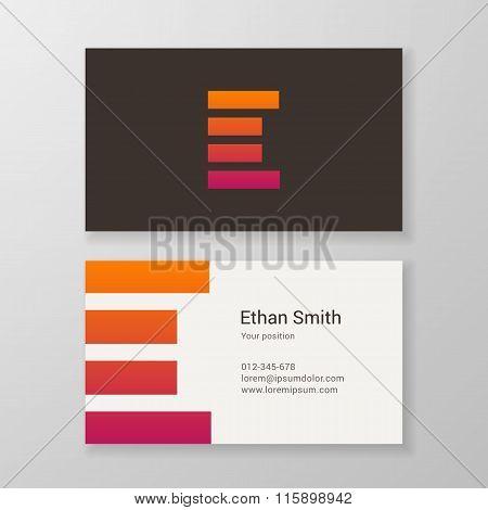 Letter E Stripes Business Card Template