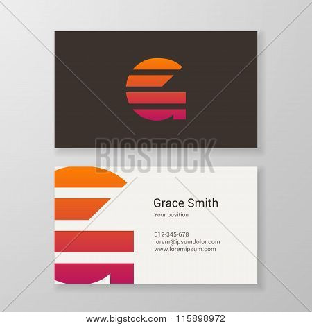 Letter G Stripes Business Card Template