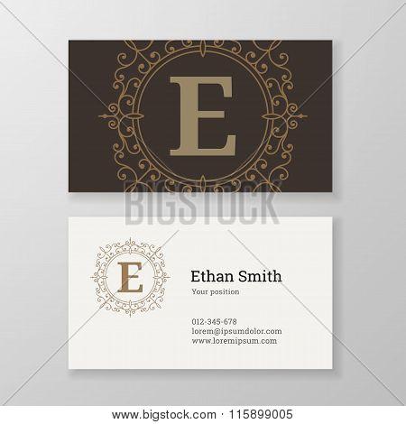 Business Card Monogram Emblem Letter E Template Design.
