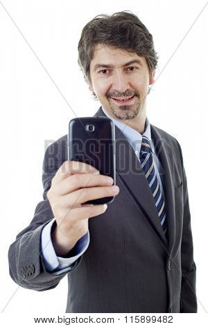 businessman taking a selfie, isolated on white background