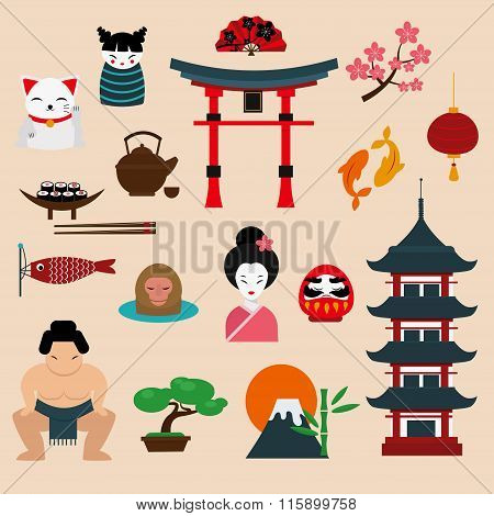 Japan travel vector illustration
