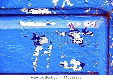 Stripped Paint In The Blue Wood   And Rusty