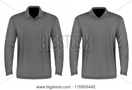 Men's slim-fitting polo shirt. Vector illustration. Fully editable handmade mesh.