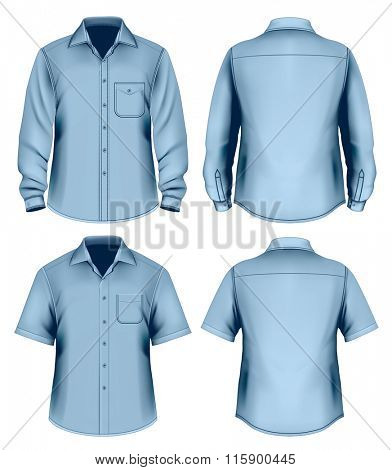 Men's button down shirt long and short sleeved. Fully editable handmade mesh, vector illustration.