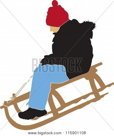 Boy Sledging Down On The Snow