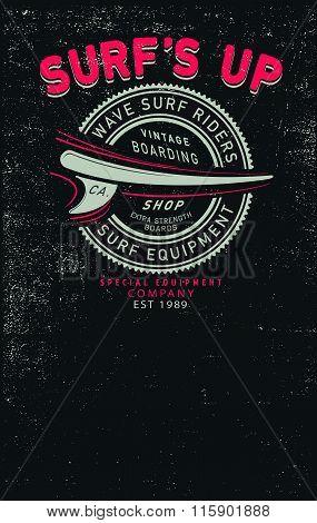 Vector Grunge Surf Print