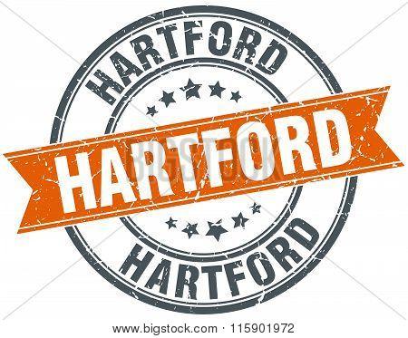 Hartford orange round grunge vintage ribbon stamp