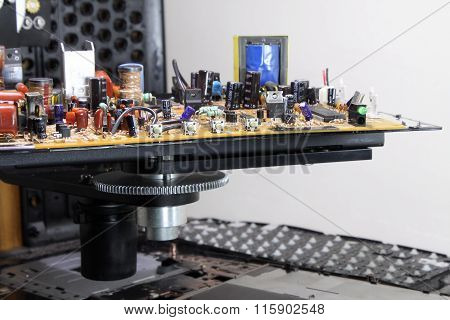 Radio components on electronic board detailed shot