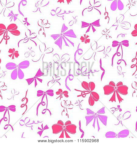 Seamless Pattern With Bows. Pink Bows On White Background.