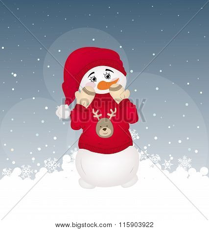 hiding snowman in a red printed pullover