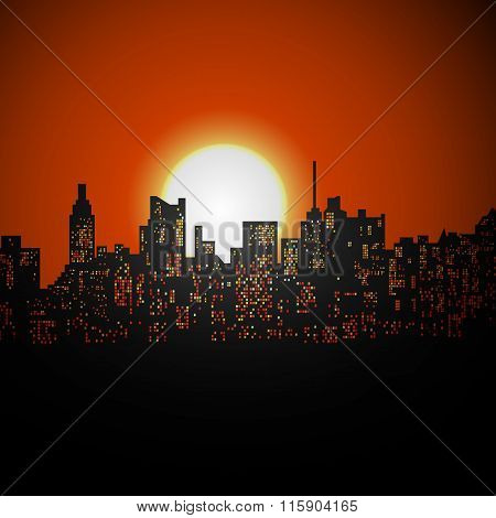 Cityscape Sunrise Or Sunset
