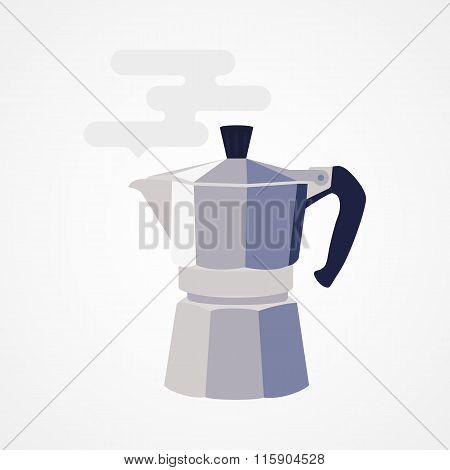 Flat design icon coffee maker.