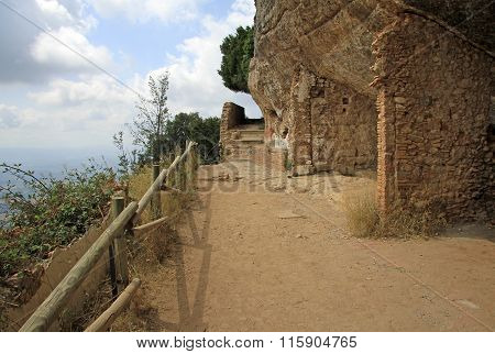 Montserrat, Spain - August 28, 2012: the Hermitage Of Saint Onofre At Montserrat Monastery, Spain
