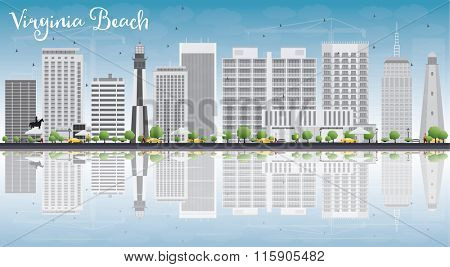 Virginia Beach (Virginia) Skyline with Gray Buildings and Reflections. Business Travel and Tourism Concept with Copy Space. Image for Presentation, Banner, Placard and Web Site