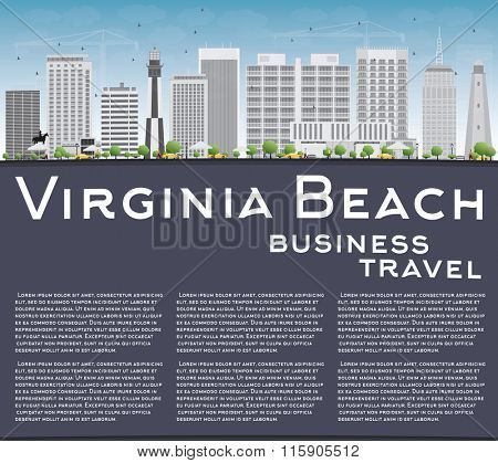 Virginia Beach (Virginia) Skyline with Gray Buildings and Copy Space. Business Travel and Tourism Concept. Image for Presentation, Banner, Placard and Web Site.