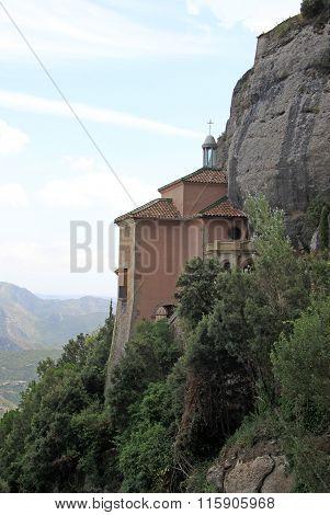 Montserrat, Spain - August 28, 2012: Santa Cova Chapel - Cappella Della Santa Grotta At The Benedict