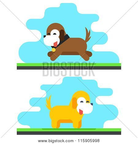 Funny Dog Sky Background Concept Flat Design Vector Illustration