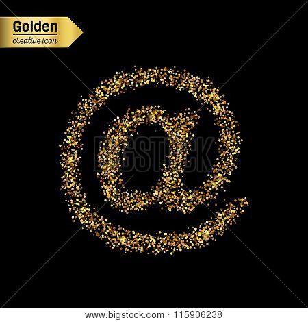 Gold glitter vector icon of e-mail isolated on background. Art creative concept illustration for web