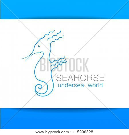 Seahorse isolated on white background. Vector illustration. Idea for logo design.